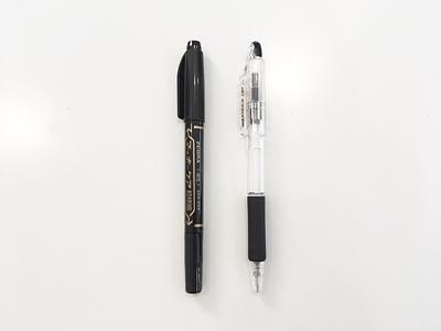 極細のサインペン、水性ボールペンなど