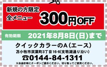 ヘアカラー全メニュー 300円OFF